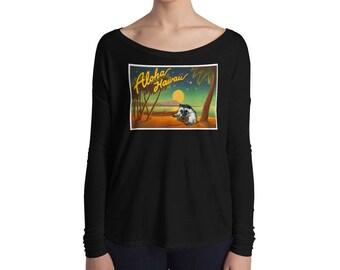 Aloha Hedgehog Flowy Shirt - Ladies' Long Sleeve Hedgehog Tee - Aloha Hedgehog Playing Uke - Hedgehog Ukulele T-Shirt
