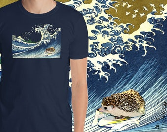 Short-Sleeve Hedgehog T-Shirt Japanese Woodblock The Great Wave With Hedgehog | Under the Wave off Kanagawa a Pricklepants Original by Urchi