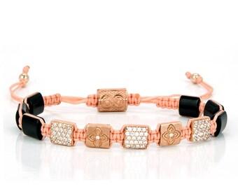 FLATBEAD | Beaded Bracelet, 925 Sterling Silver, Rose Gold, Onyx, Womens Bracelet, Gift for Her, Shamballa, Womens Jewelry, Christmas Gift