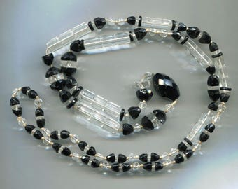 Black and Clear Crystal Beads Rope Necklace, 38 in.