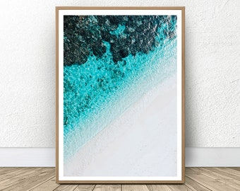 Coastal Art Print, Beach Art Print, Turquoise Wall Art, Blue Decor Coastal Print, Designer Wall Art, Digital Art Print, Instant Download Art