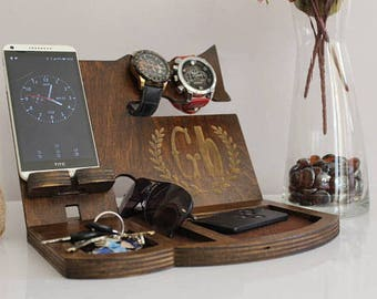 Personalized Custom Wood Docking Station Men gift for Valentines Day desk organizer gifts for men Valentines Cell phone stand holder