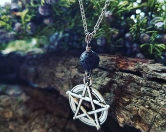 Magickal Pentacle and Natural Stone Bead Necklace