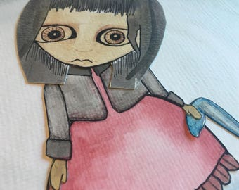 ORIGINAL Creepy Girl Watercolor Painting