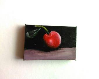 Cherry Mini Painting | Canvas Art | Mini Art | Tiny Art | Original Art | Decor | Modern Art | Painting | Kitchen Art | Still Life Art