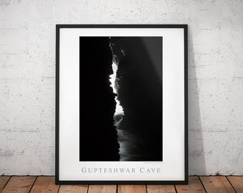 Nepal Cave Nature Poster, Gupteshwar Travel Photography Print, Asia Black & White Wall Art, Monochrome Home Decor, Pokhara Geology Photo