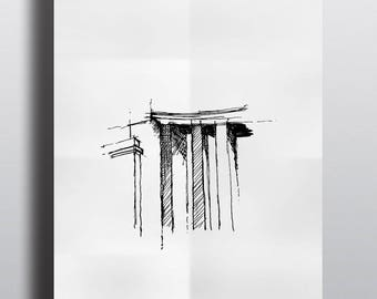 Architectural sketch series Paris Palais de Tokyo Limited Edition