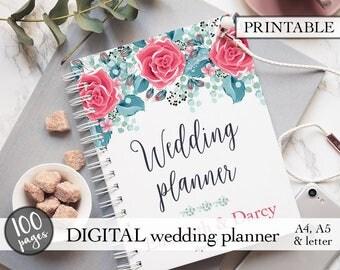 Wedding planner printable, Printable wedding planner, Wedding binder, Wedding planning book, Engagement gift, PDF download, Bridal gift idea