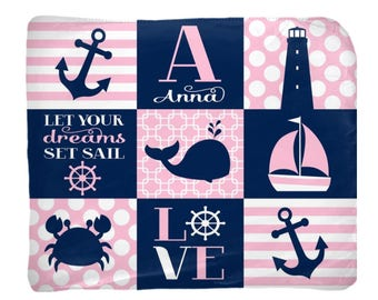 NAUTICAL Baby Blanket, Nautical Girl Nursery Bedding, Personalized Blanket, Name Blanket, Girl Shower Gift, Swaddle Blanket Pillow Set