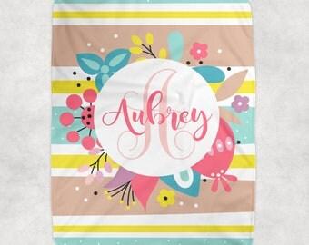 Floral Baby Girl Blanket, Flower Blanket, Personalized Girl Monogram, Girl Name Blanket, Baby Girl Shower Gift-Swaddle Blanket Pillow Set