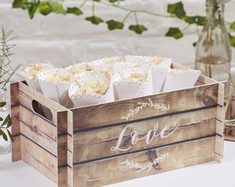 Wood Effect Card Crate Wedding Confetti Holder