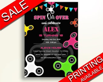 Fidget Spinner Birthday Invitation Fidget Spinner Birthday Party Invitation Fidget Spinner Birthday Party Fidget Spinner Invitation CJSBA