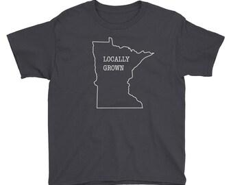 Locally Grown - Minnesota Funny Kids Gift T-Shirt Youth Short Sleeve T-Shirt