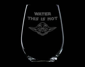 Yoda | Star Wars | Wine Glass | Etched Glass | Gifts | Drinkware | Party Glass | Barware | Wine Bottle | Unique wine glass | Star Wars Quote