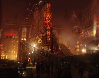 Dieselpunk scifi cityscape sciencefiction city