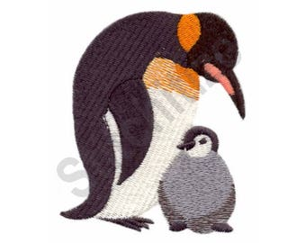 Mom & Chick Penguin - Machine Embroidery Design, Penguins