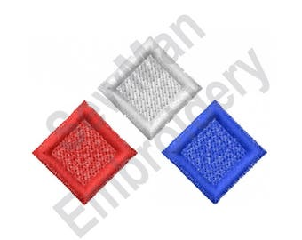 Red, White And Blue Blocks - Machine Embroidery Design