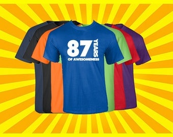 Birthday Shirt 87 Years of Awesomeness Birthday T Shirt Birthday Gift Born in 1930 Happy Birthday Tee