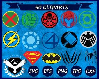 60 Superhero Logo Svg   Superhero Svg   Superhero Clipart   Superhero Cut File   Superhero Circuit   Batman Svg   Captain America Svg