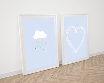 Printable Baby Wall Art Prints, Set Of 2 Nursery Prints, Boy Nursery Print, Boy Nursery Printable Art, Baby Art Print, Rain cloud printable