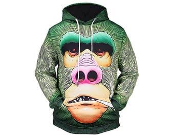 Monkey Hoodie, Monkey, Monkey Hoodies, Animal Prints, Animal Hoodie, Animal Hoodies, Monkeys, Hoodie, 3d Hoodie, 3d Hoodies - Style 7