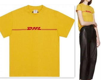 DHL Vetements Inspired Fan By Fan Tour Merch Screen Printed Super Soft Cotton Luxury Yellow T-Shirt Unisex Paris France
