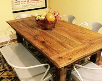 Rustic Reclaimed Wood Farmhouse Table with Post Legs