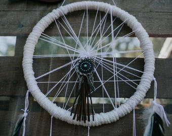 10 x 10 white rustic boho dreamcatcher