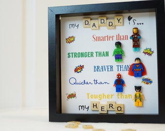 Lego, Iron Man, Superman, Hulk, Spider-man, superhero, valentine, gifts for him, fathers day, birthday, anniversary inspired by LEGO