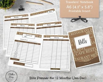 Bill Tracker Planner, Bill Planner, A6 Planner Insert, Bill Due Printable, Monthly Bill Tracker Insert, A6 TN Inserts, A6 Travelers Notebook