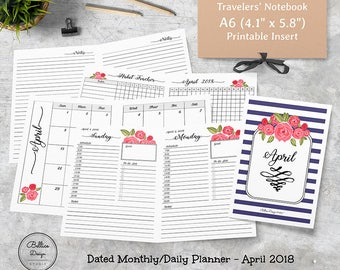 2018 A6 Planner, April 2018 Planner, Daily Monthly Planner 2018, Floral Planner, Daily Planner Printable, Monthly Planner Printable, A6 Size