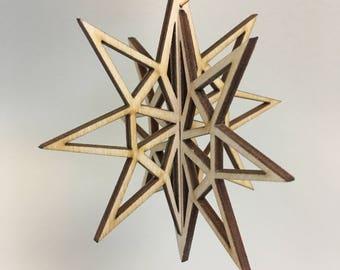 3D Wooden Star Christmas Ornament
