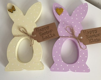 Set of Two Wooden Easter Bunny Egg Holders, Kinder Egg Bunny Rabbit, Personalised Easter Present Gift