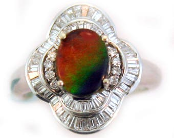 18k White Gold Canadian Ammolite RIng with Baguette Diamonds