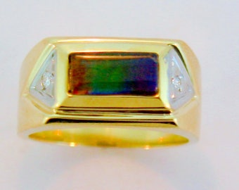 Canadian Ammolite and Diamond set on 14k Yellow Gold Men's Ring.