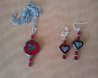 heart shaped necklace and earring set