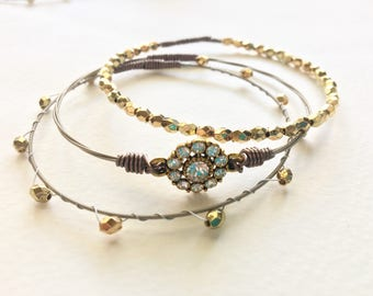 Nashville, TN - Recycled Guitar String Bangle Set w/Bio About the String's Musician
