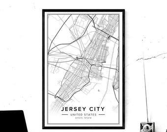 Jersey City Map, Jersey City Print, Jersey City Poster, Jersey City Art, Jersey City Nj, Map Of Jersey City, New Jersey Wall Art, Pdf Map