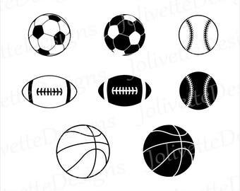 ball sports basketball soccer football baseball svg clipart balls clip silhouette dxf etsy cricut sport eps cut