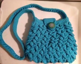 Turquoise blue crocodile purse