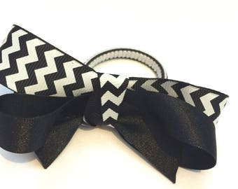 Black and White zebra Hair Bow
