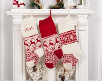 Christmas stockings, Knit Personalized Christmas stocking,  Knitted stockings, Monogrammed Stockings, Set of 3 Red White reindeer