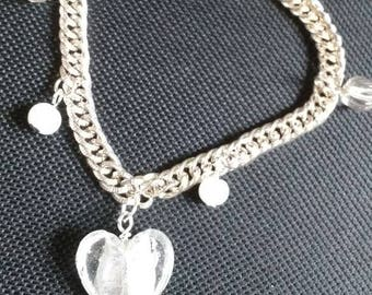 Cute Shiny Silver & White Bracelet 8 Inches