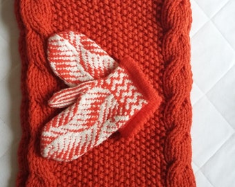 Hand knitted orange and white women's scarf with gloves-Gift for her-Women gift-Birthday gift-Warm-Soft-Set-Knit accessories