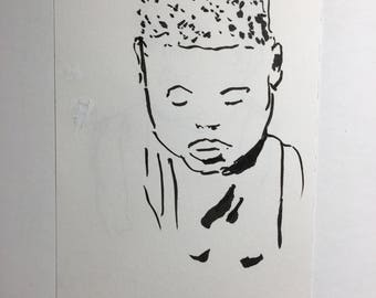 Original Ink Drawing of a Boy in the Boston Subway
