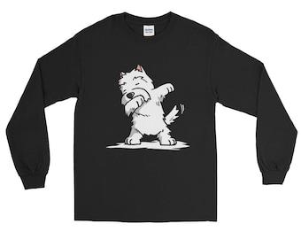 Cute Dabbing Westie Dog Long Sleeve T-Shirt Funny Dab Dance Gift