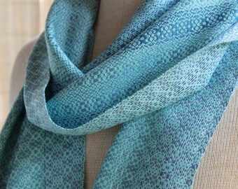 Hand Woven Blues Bamboo Scarf