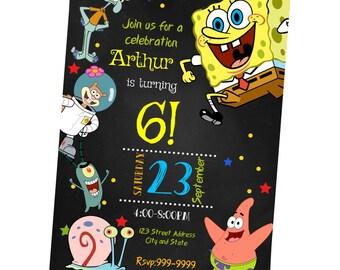 INSTANT DOWNLOAD - Spongebob Invitation - Spongebob Birthday Invitation - Spongebob Invite - Birthday Invitation - Invitation