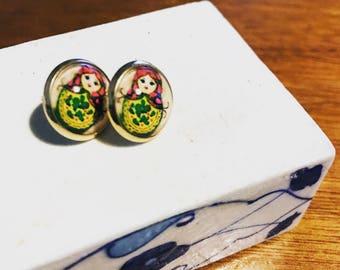 Matryoshka earrings , stud earrings ,handmade earrings