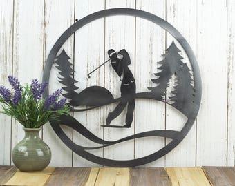 Metal Golfer Wall Art | Metal Sign | Metal Wall Decor | Golf Gift | Gift for Him | Golf Decor | Golfer Sign | Metal Wall Art | Sign